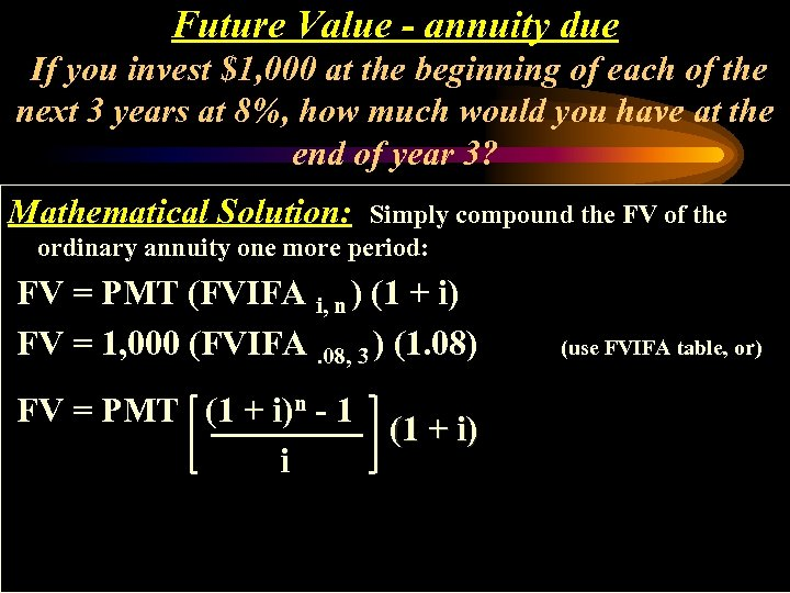 Future Value - annuity due If you invest $1, 000 at the beginning of