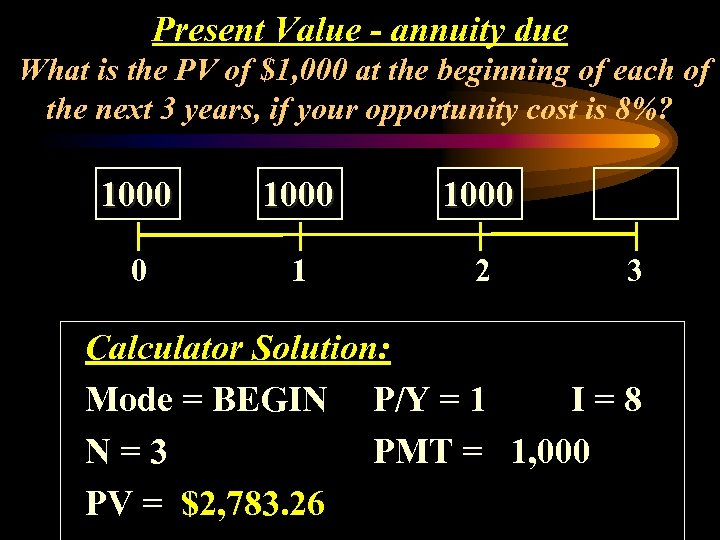 Present Value - annuity due What is the PV of $1, 000 at the