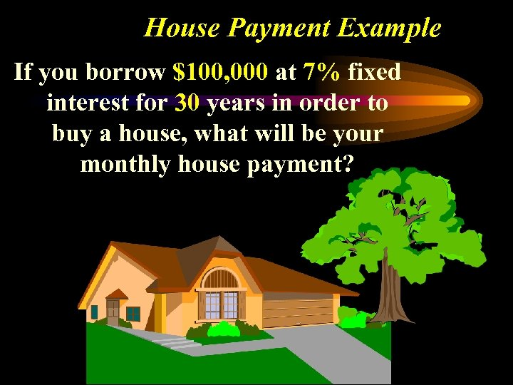 House Payment Example If you borrow $100, 000 at 7% fixed interest for 30