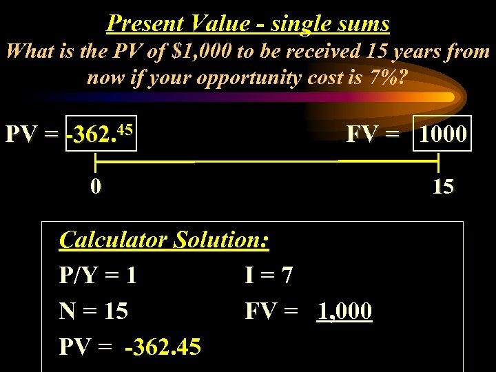 Present Value - single sums What is the PV of $1, 000 to be