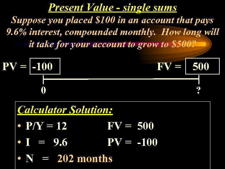 Present Value - single sums Suppose you placed $100 in an account that pays