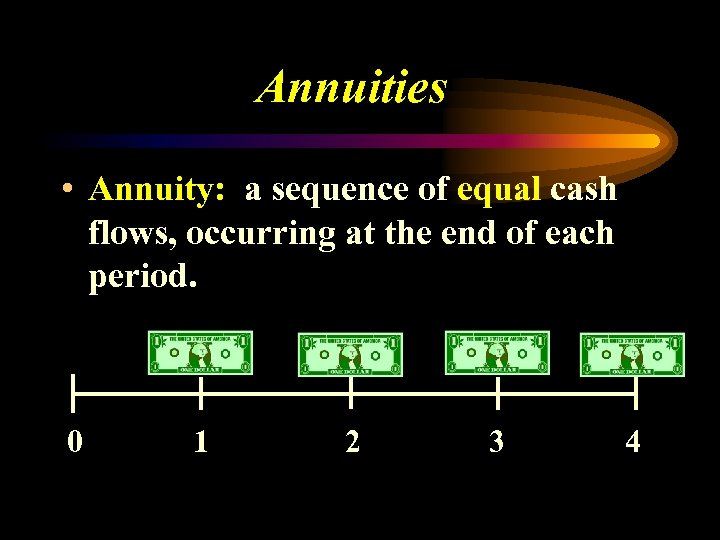 Annuities • Annuity: a sequence of equal cash flows, occurring at the end of