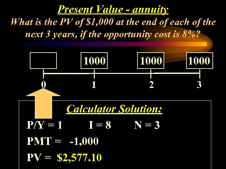 Present Value - annuity What is the PV of $1, 000 at the end
