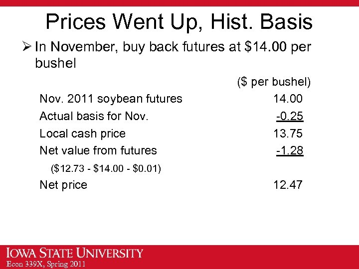 Prices Went Up, Hist. Basis Ø In November, buy back futures at $14. 00