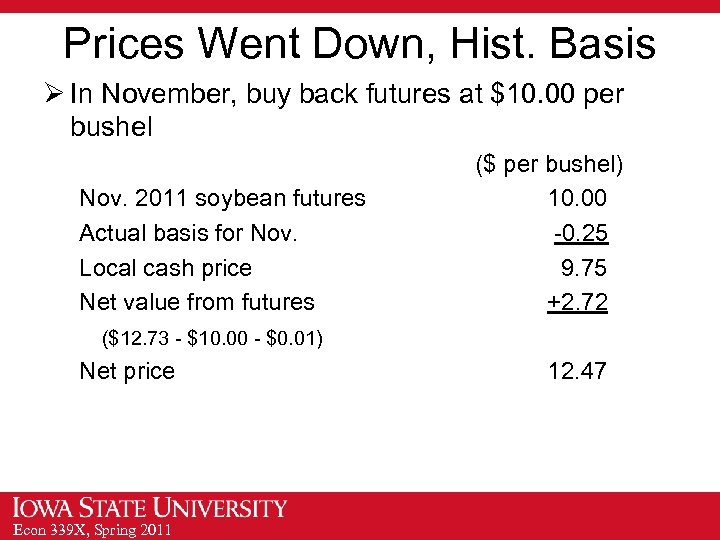 Prices Went Down, Hist. Basis Ø In November, buy back futures at $10. 00