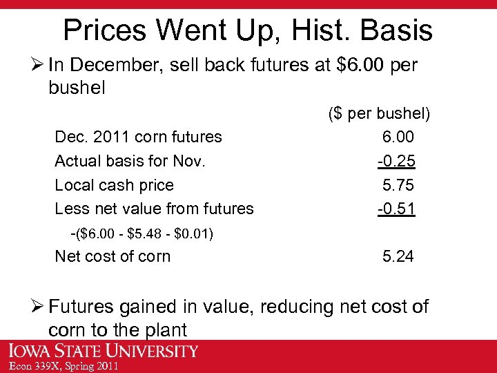 Prices Went Up, Hist. Basis Ø In December, sell back futures at $6. 00