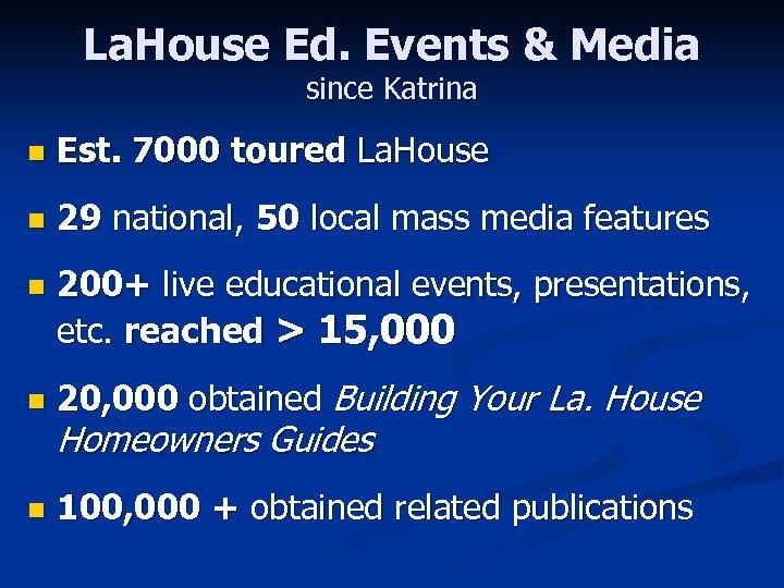 La. House Ed. Events & Media since Katrina n Est. 7000 toured La. House