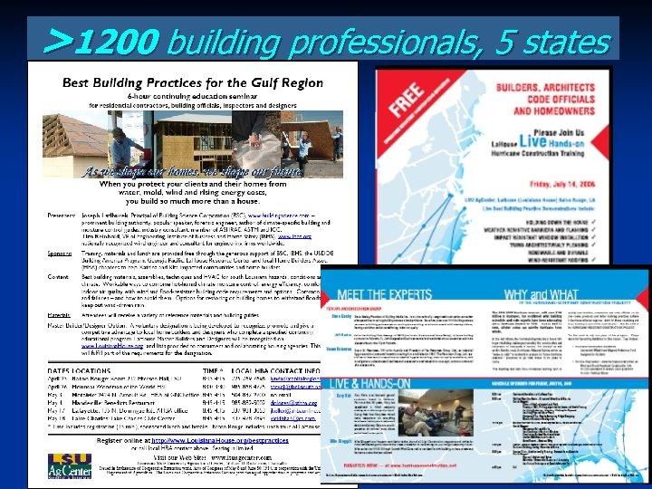 >1200 building professionals, 5 states