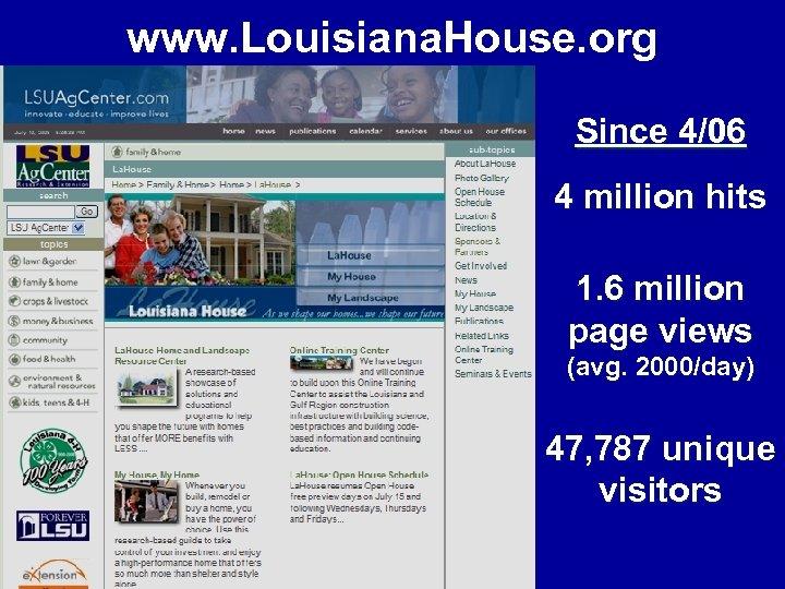 www. Louisiana. House. org Since 4/06 4 million hits 1. 6 million page views
