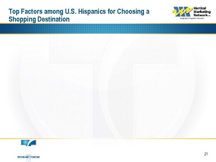Top Factors among U. S. Hispanics for Choosing a Shopping Destination 21