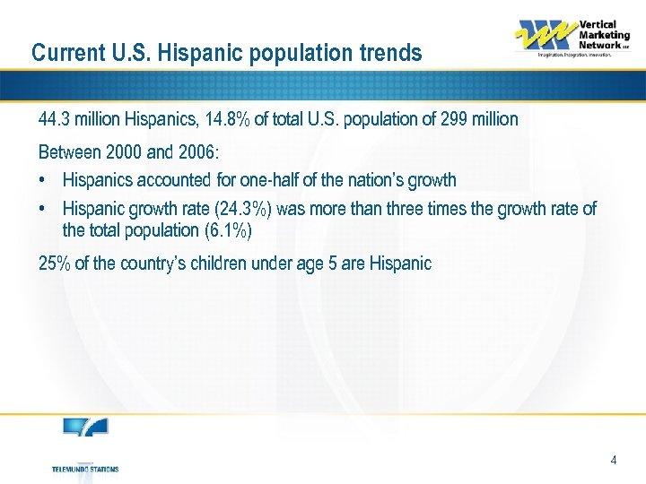 Current U. S. Hispanic population trends 44. 3 million Hispanics, 14. 8% of total