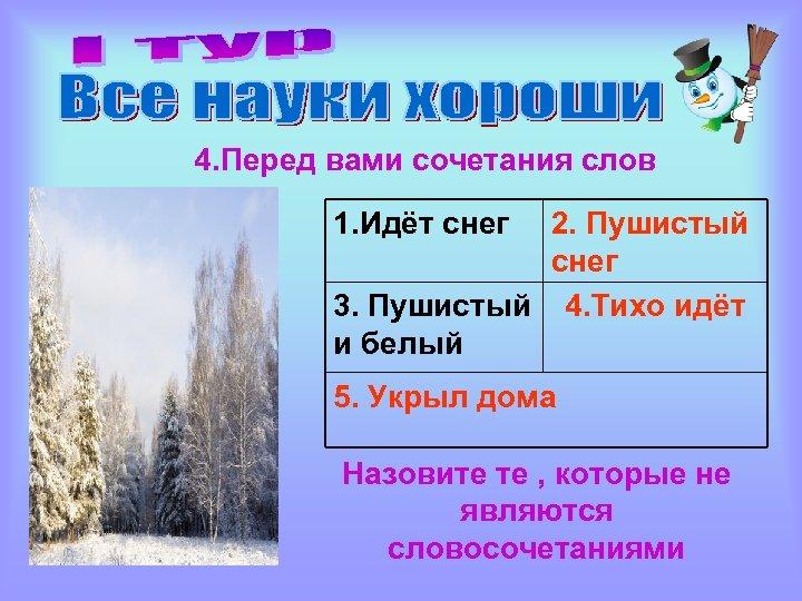 4. Перед вами сочетания слов 1. Идёт снег 2. Пушистый снег 3. Пушистый 4.