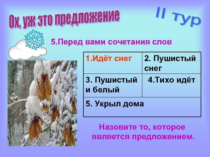 5. Перед вами сочетания слов 1. Идёт снег 2. Пушистый снег 3. Пушистый 4.