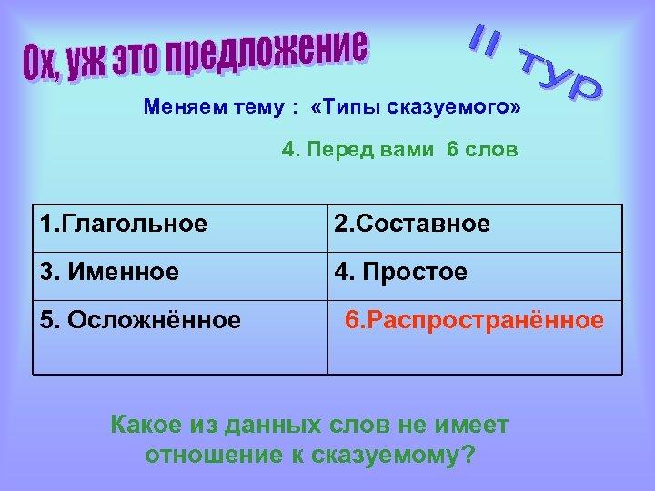 Меняем тему : «Типы сказуемого» 4. Перед вами 6 слов 1. Глагольное 2. Составное