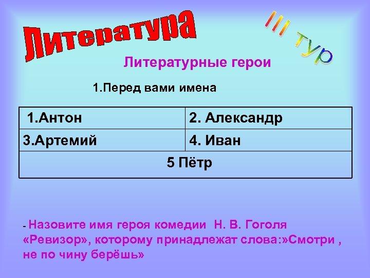 Литературные герои 1. Перед вами имена 1. Антон 2. Александр 3. Артемий 4. Иван