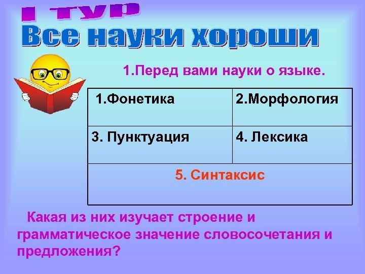 1. Перед вами науки о языке. 1. Фонетика 2. Морфология 3. Пунктуация 4. Лексика