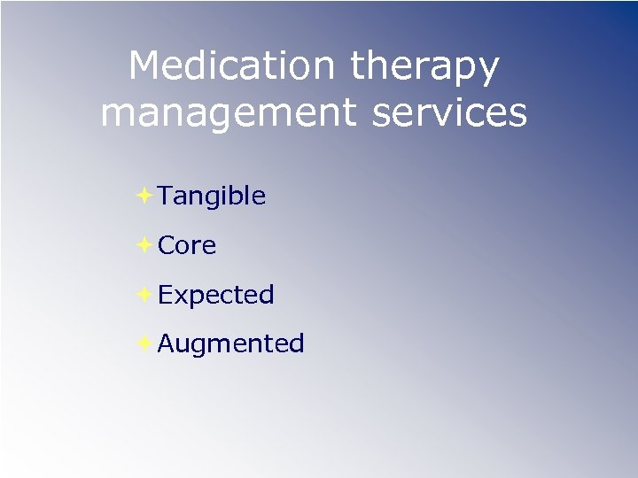 Medication therapy management services Tangible Core Expected Augmented
