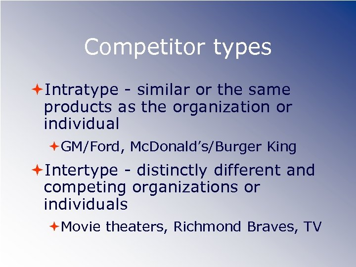 Competitor types Intratype - similar or the same products as the organization or individual