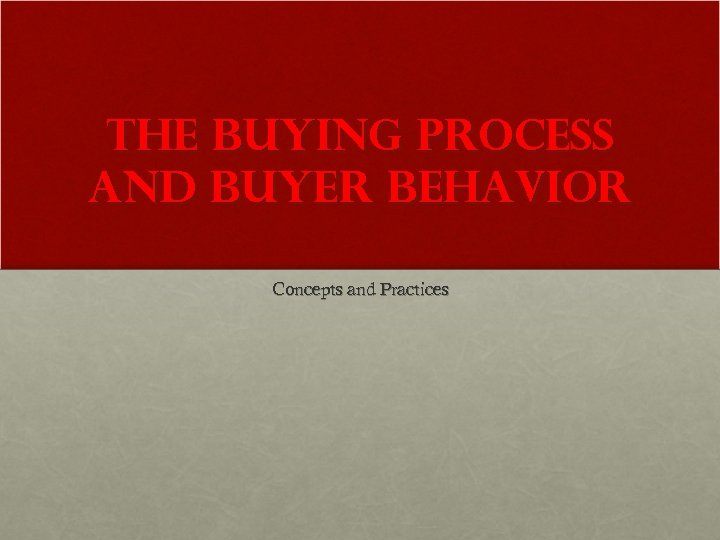 The Buying Process and Buyer Behavior Concepts and Practices