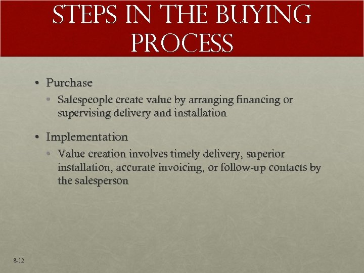 Steps in the Buying Process • Purchase • Salespeople create value by arranging financing