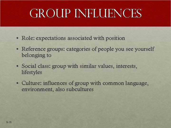 Group Influences • Role: expectations associated with position • Reference groups: categories of people