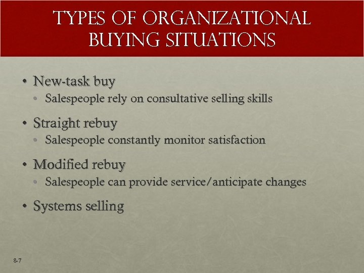 Types of Organizational Buying Situations • New-task buy • Salespeople rely on consultative selling
