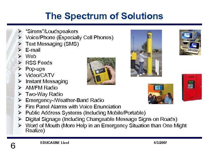 "The Spectrum of Solutions Ø Ø Ø Ø 6 ""Sirens""/Loudspeakers Voice/Phone (Especially Cell Phones)"
