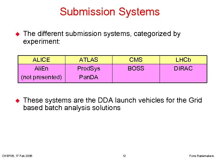 Submission Systems u The different submission systems, categorized by experiment: ALICE Ali. En (not