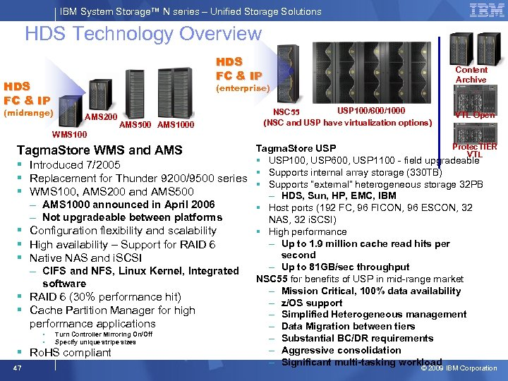 IBM System Storage™ N series – Unified Storage Solutions HDS Technology Overview HDS FC