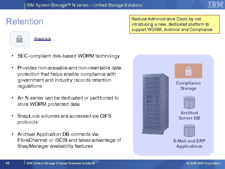 IBM System Storage™ N series – Unified Storage Solutions Retention Reduce Administrative Costs by
