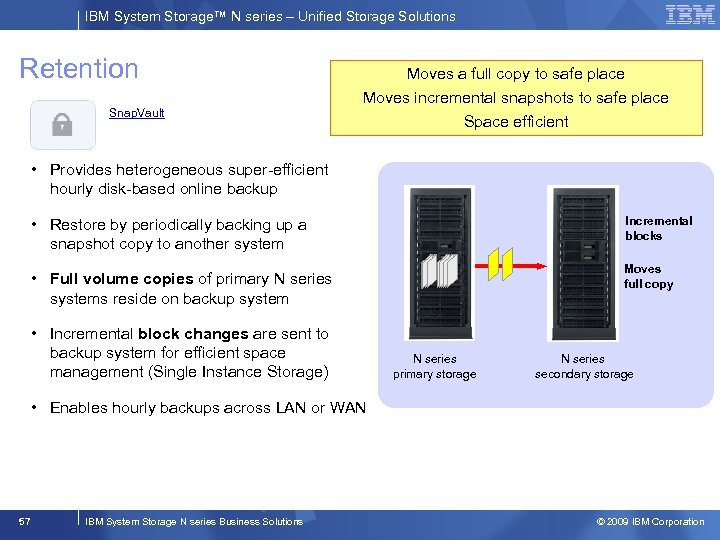 IBM System Storage™ N series – Unified Storage Solutions Retention Snap. Vault Moves a