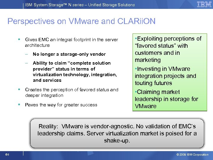 IBM System Storage™ N series – Unified Storage Solutions Perspectives on VMware and CLARii.