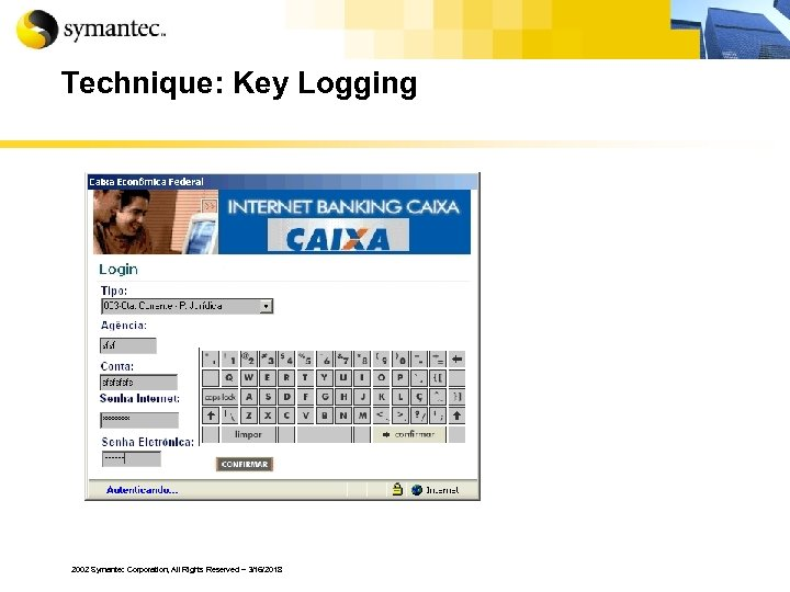 Technique: Key Logging 2002 Symantec Corporation, All Rights Reserved – 3/16/2018