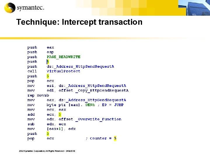 Technique: Intercept transaction 2002 Symantec Corporation, All Rights Reserved – 3/16/2018