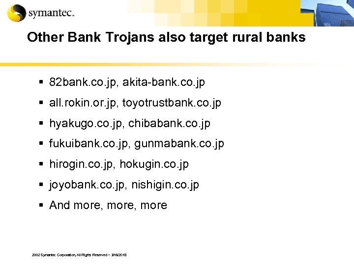 Other Bank Trojans also target rural banks § 82 bank. co. jp, akita-bank. co.
