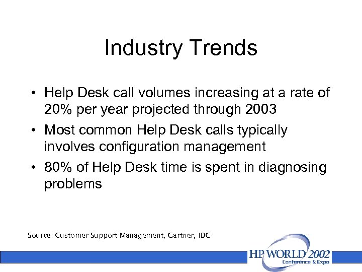 Industry Trends • Help Desk call volumes increasing at a rate of 20% per