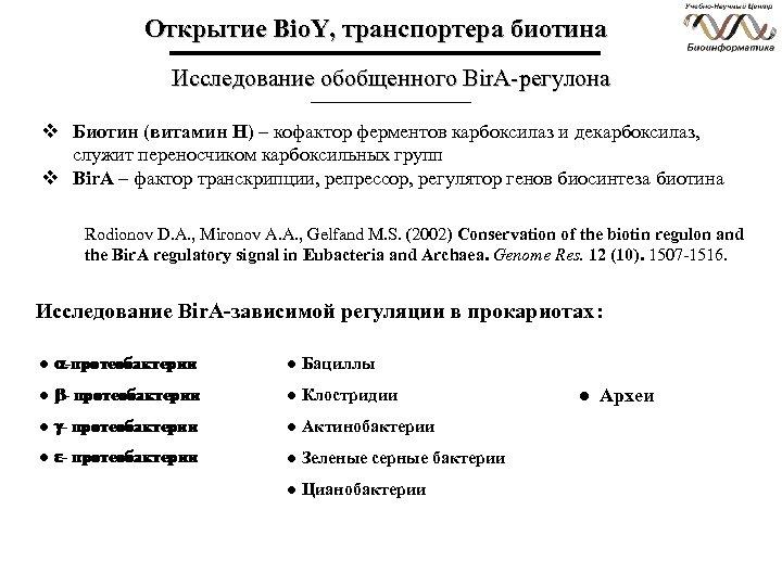Открытие Bio. Y, транспортера биотина Исследование обобщенного Bir. A-регулона v Биотин (витамин Н) –
