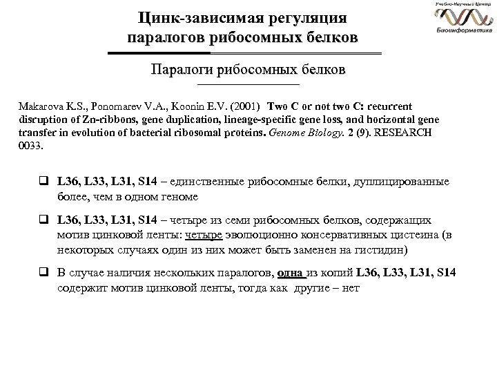 Цинк-зависимая регуляция паралогов рибосомных белков Паралоги рибосомных белков Makarova K. S. , Ponomarev V.
