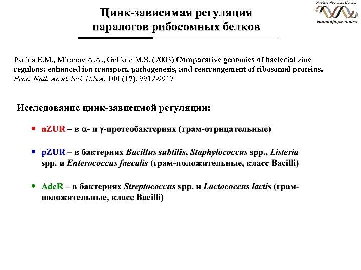 Цинк-зависимая регуляция паралогов рибосомных белков Panina E. M. , Mironov A. A. , Gelfand