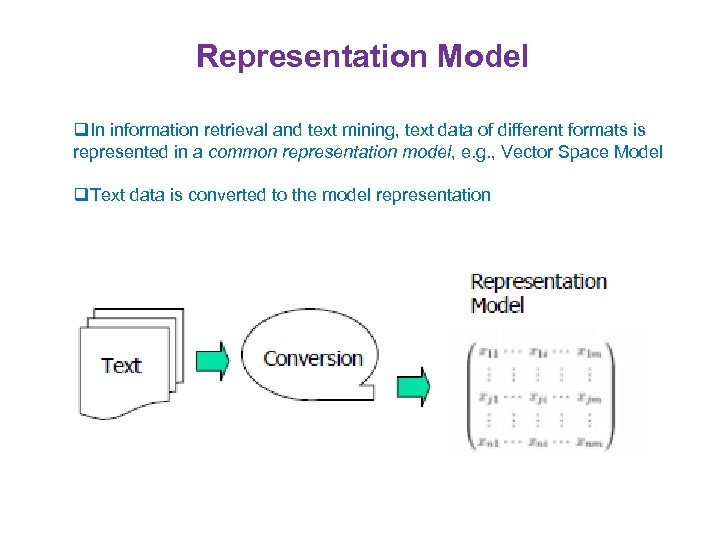 Representation Model q. In information retrieval and text mining, text data of different formats