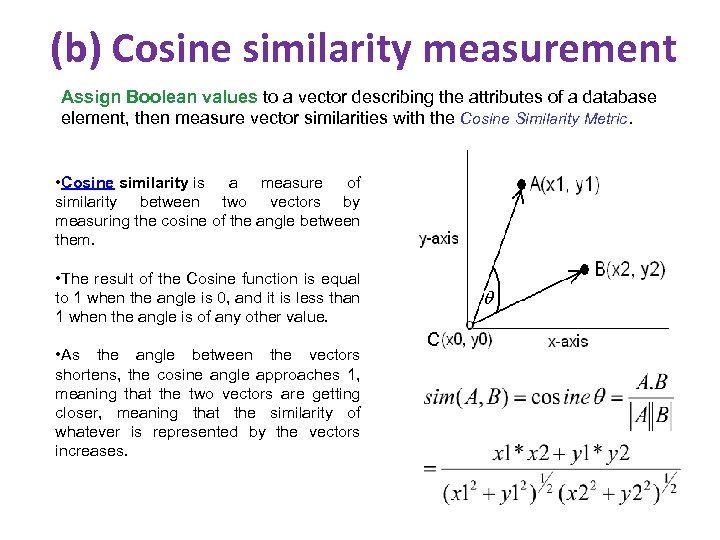(b) Cosine similarity measurement Assign Boolean values to a vector describing the attributes of