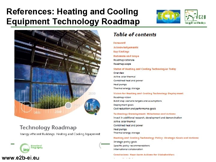 References: Heating and Cooling Equipment Technology Roadmap www. e 2 b-ei. eu