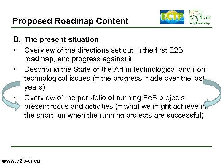 Proposed Roadmap Content B. The present situation • Overview of the directions set out