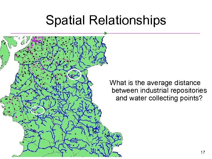 Spatial Relationships What is the average distance between industrial repositories and water collecting points?