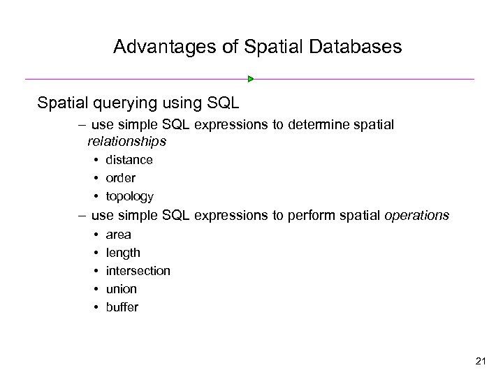 Advantages of Spatial Databases Spatial querying using SQL – use simple SQL expressions to