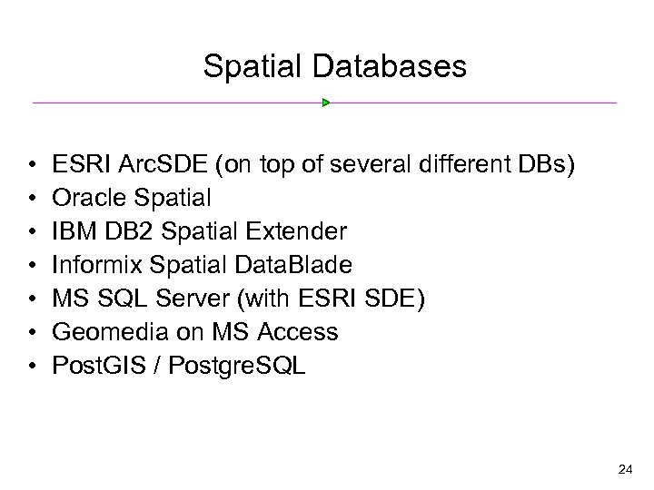 Spatial Databases • • ESRI Arc. SDE (on top of several different DBs) Oracle