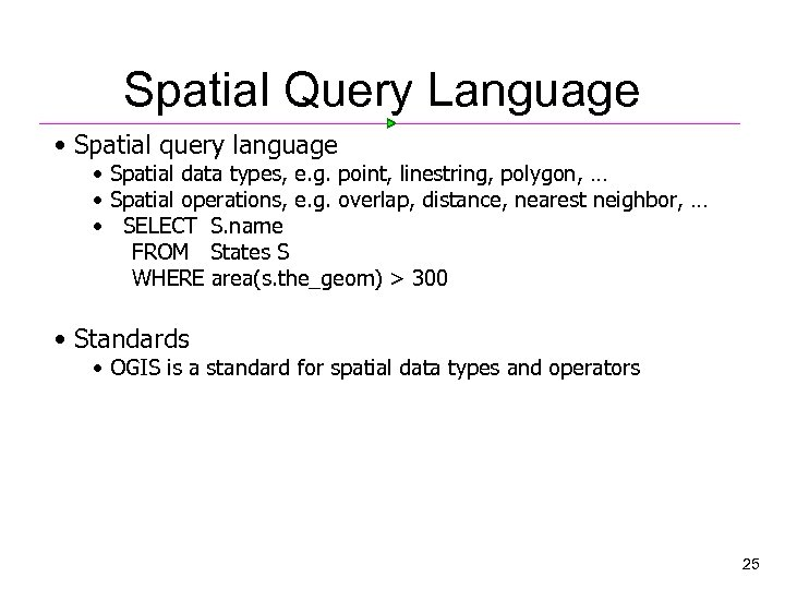 Spatial Query Language • Spatial query language • Spatial data types, e. g. point,