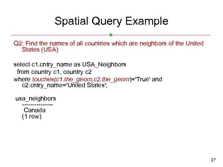 Spatial Query Example Q 2: Find the names of all countries which are neighbors