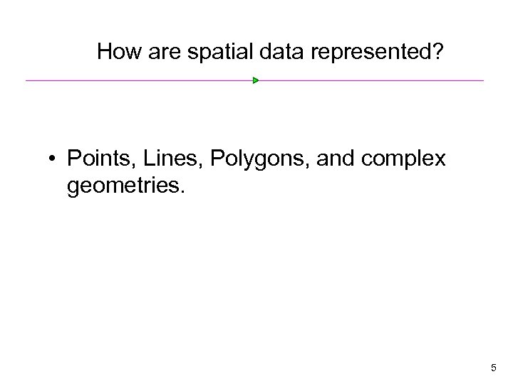 How are spatial data represented? • Points, Lines, Polygons, and complex geometries. 5