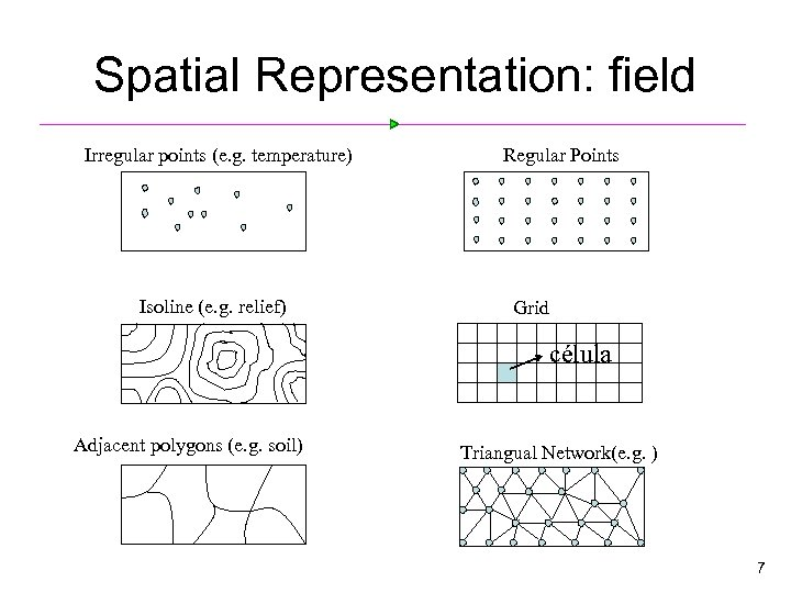 Spatial Representation: field Irregular points (e. g. temperature) Isoline (e. g. relief) Regular Points